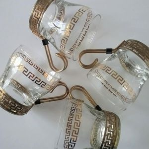 Other - Vintage Libbey gold Greek Key coffee / tea glasses